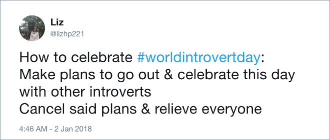 Funny introvert tweet.