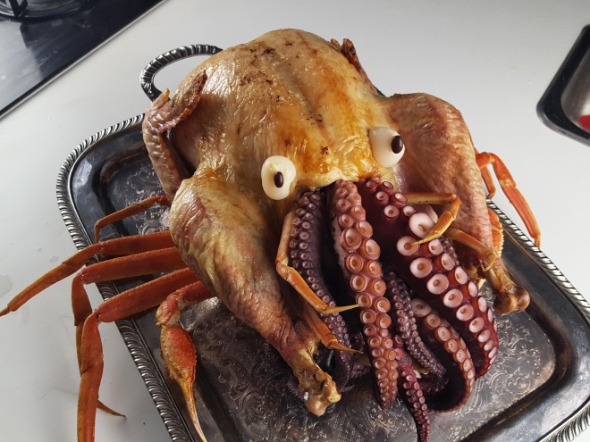 Cthulhu turkey Thanksgiving dish.
