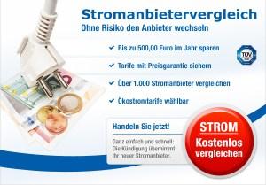 Stromanbieter wechseln und bis zu 500 Euro sparen.