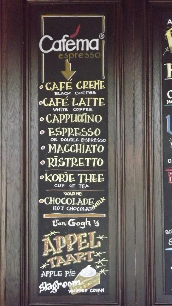 Menu em várias línguas