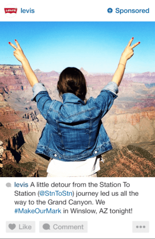 Levi's example on how to advertise on Instagram