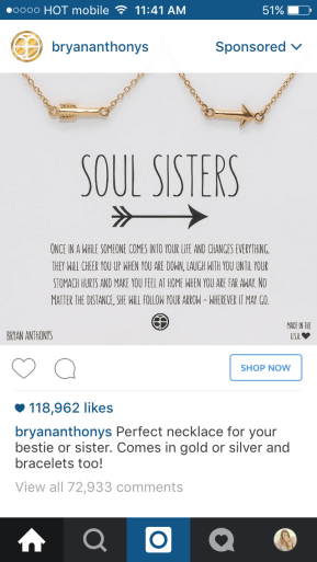 Example of how not to advertise on Instagram