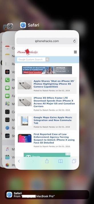 Как принудительно закрыть приложение или несколько приложений на iPhone XS и iPhone XS Max