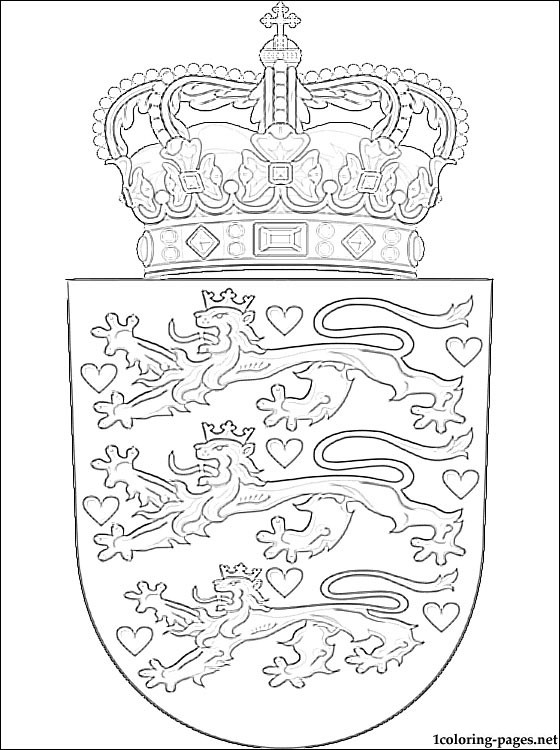 Denmark Coat Of Arms Coloring Page Coloring Pages