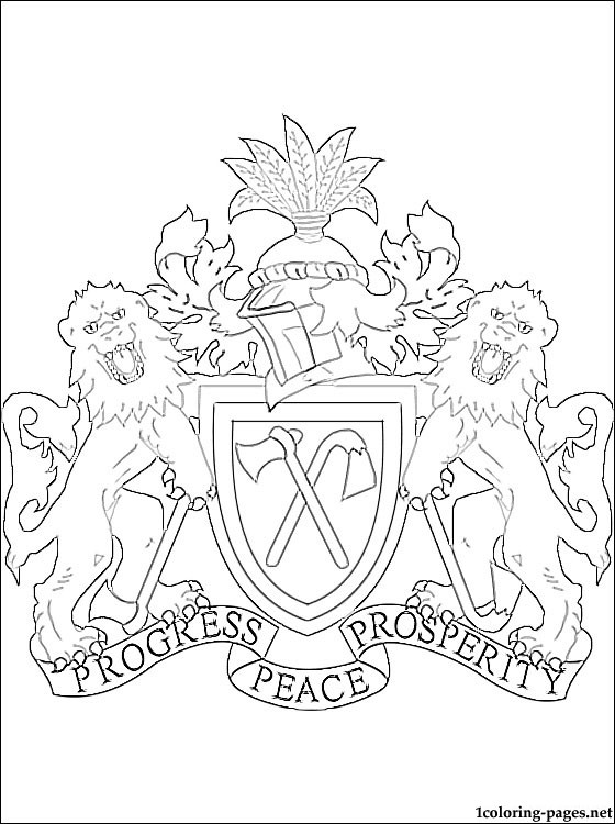 Gambia Coat Of Arms Coloring Page Coloring Pages
