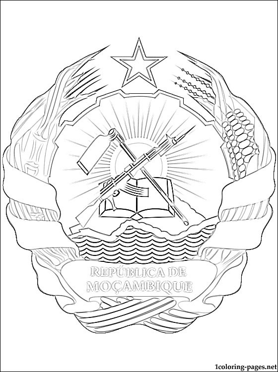 Mozambique Coat Of Arms Coloring Page Coloring Pages