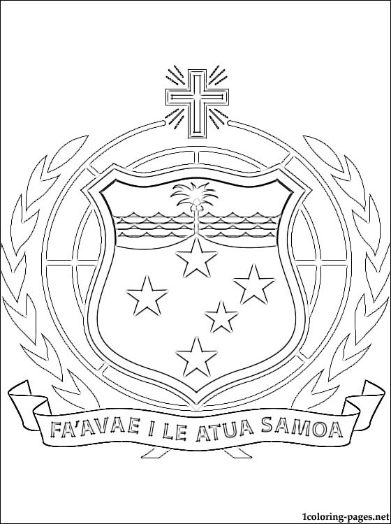 Samoan Coat Of Arms Coloring Page Coloring Pages