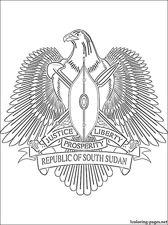 South Sudan Coat Of Arms Coloring Page Coloring Pages