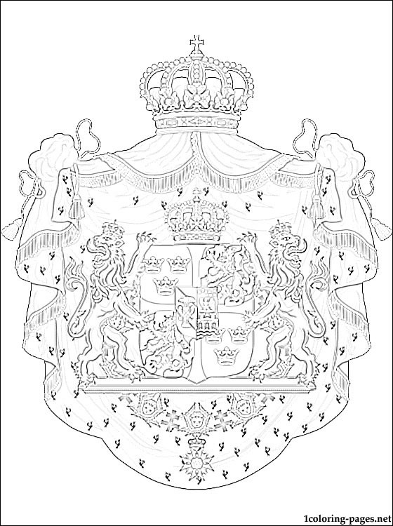 Sweden Coat Of Arms Coloring Page Coloring Pages