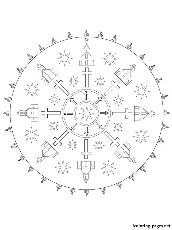 Church Mandala Coloring Page Coloring Pages