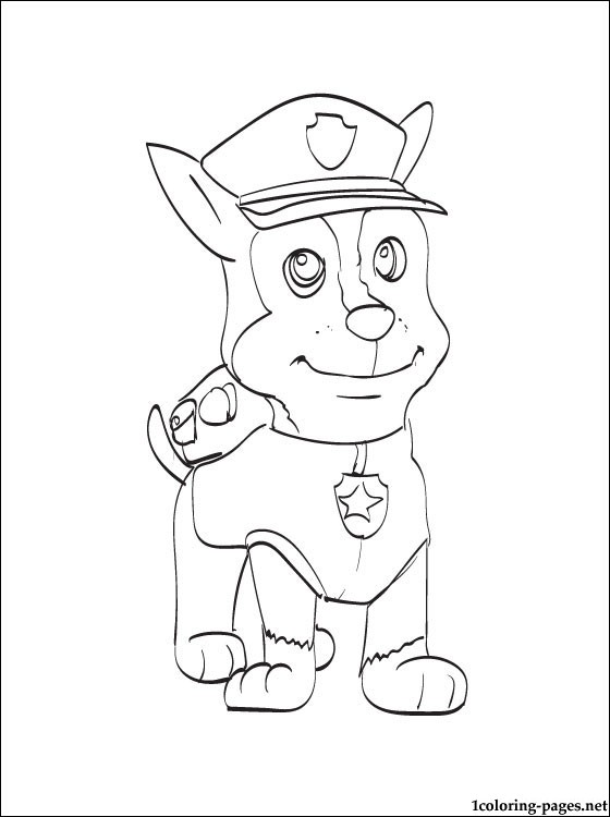 Chase Paw Patrol Coloring Page Coloring Pages