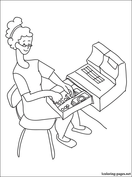 Cashier Coloring Page Coloring Pages