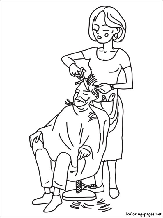 Hairdresser Coloring Page Coloring Pages