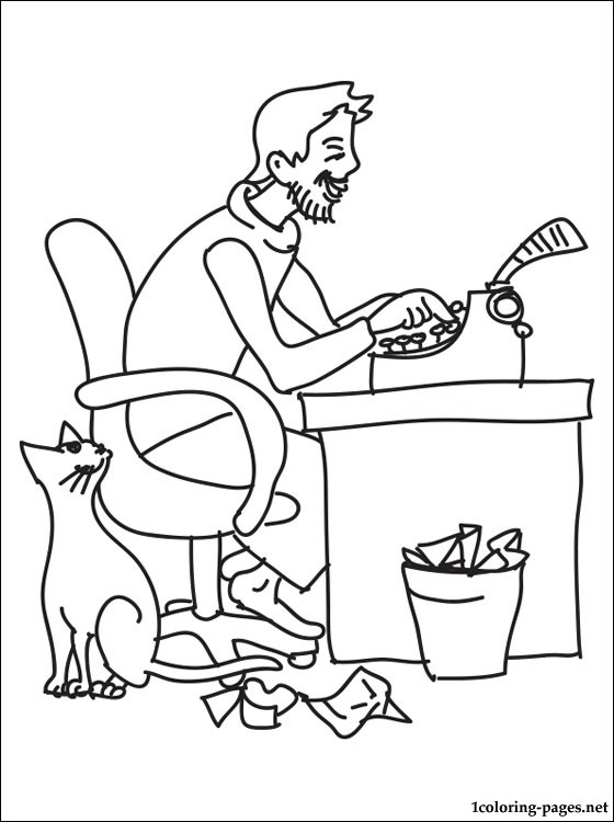 Writer Coloring Page Coloring Pages
