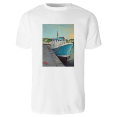 1create - T-shirt James O'Connell Blue Boat - Mens White