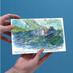 1create - greeting card 91 Ben at Helm by Patricia Thompson
