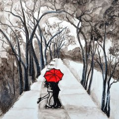 Snow Kiss Romantic Painting by Manjiri Kanvinde