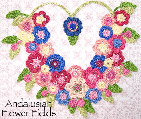 Andalusian Flower Fields- crochet neckpiece
