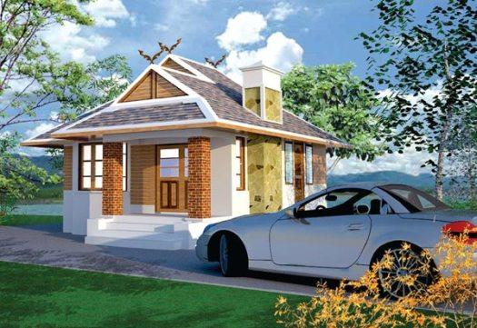 Красивый одноэтажный домик из кирпича