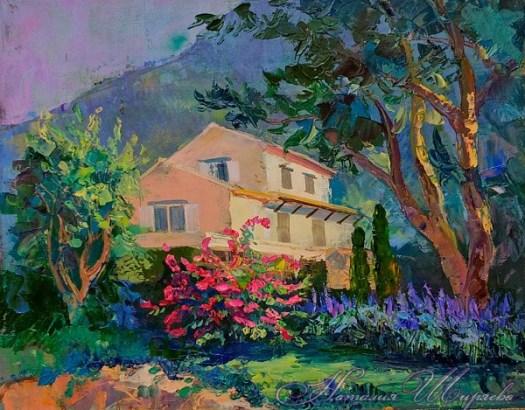 Картина с домиком в горах
