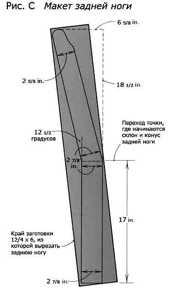 Чертеж задней ножки скамейки для дачи