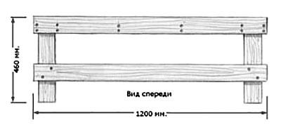 Схема простой деревянной скамейки из досок