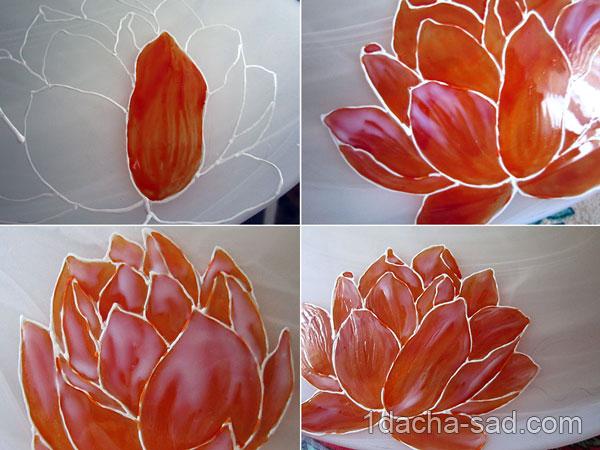 Нанесение витражных красок на стекло