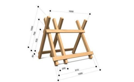 Козлы для распиловки дров своими руками - чертеж конструкции