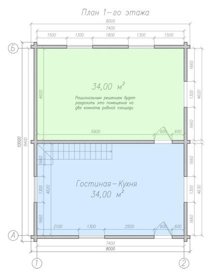 Проект первого этажа дома из бруса 8 на 10 метров
