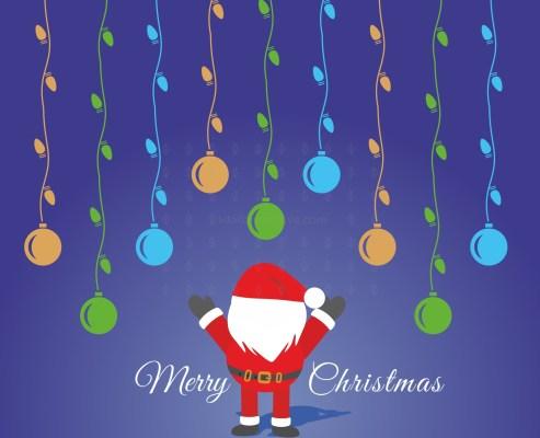 Christmas lights with Santa pattern