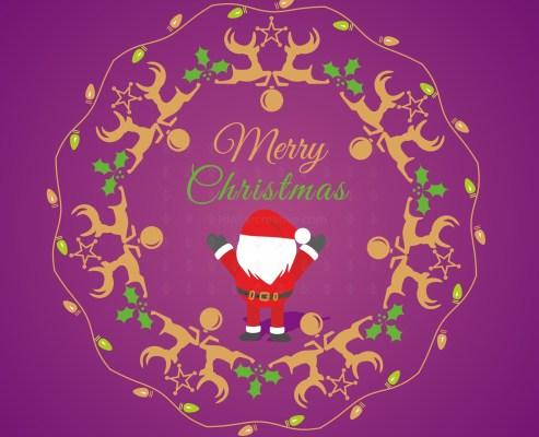 Christmas wreath with reindeer elements