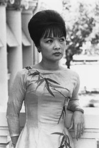 """FILE - This Aug. 1963 photo shows Tran Le Xuan, known as Madame Ngo Dinh Nhu in unknown location. Madame Nhu, the outspoken beauty who served as South Vietnam's unofficial first lady early on in the Vietnam War and earned the nickname """"Dragon Lady"""" for her harsh criticism of protesting Buddhist monks and communist sympathizers, has died at age 86, a Rome funeral home said Wednesday, April 27, 2011. (AP Photo/File)"""