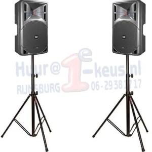 Set van 2 actieve speakers op zware statieven, professioneel huur