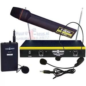 Headset- hand- en reversmicrofoon geheel draadloos goedkoop huren