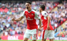 LONDON, ENGLAND - APRIL 23: Granit Xhaka of Arsenal celebrates after Nacho Monreal of Arsenal scores to make it 1-1 during the Emirates FA Cup semi-final match between Arsenal and Manchester City at Wembley Stadium on April 23, 2017 in London, England. (Photo by Catherine Ivill - AMA/Getty Images)