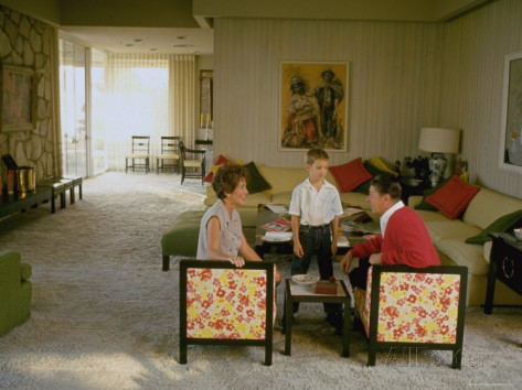 The Reagans in their living room.