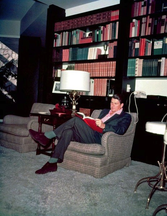 Reagan in his study at home.