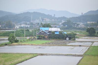 熊本地震による影響で屋根にブルーシートを被せている家