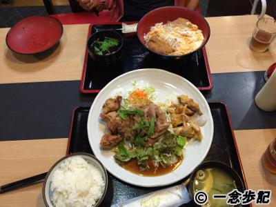 夕食のかつ丼とチキン南蛮生姜焼き定食