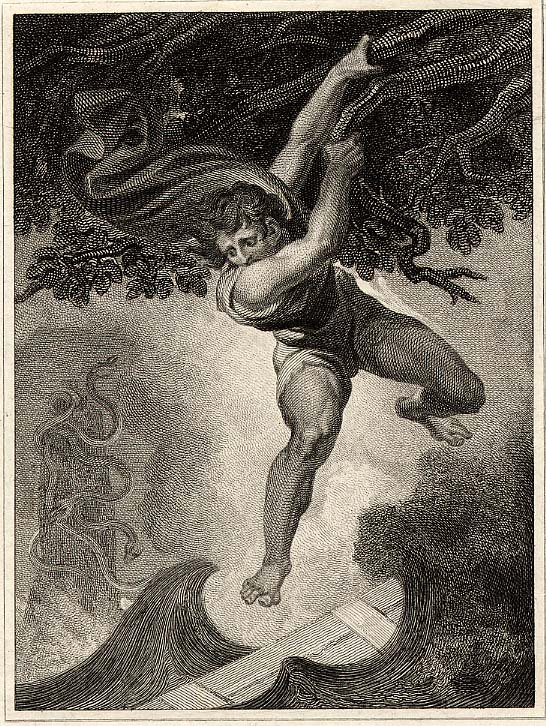Odysseus Between Scylla and Charybdis by Henry Fuseli (Johann Heinrich Füssli), 1806 [British Museum, London]. This illustration is among those Fuseli did for Alexander Pope's translation of Homer's Odyssey.