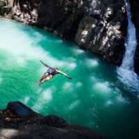 Le saut d'Acomat en Guadeloupe et son bassin turquoise