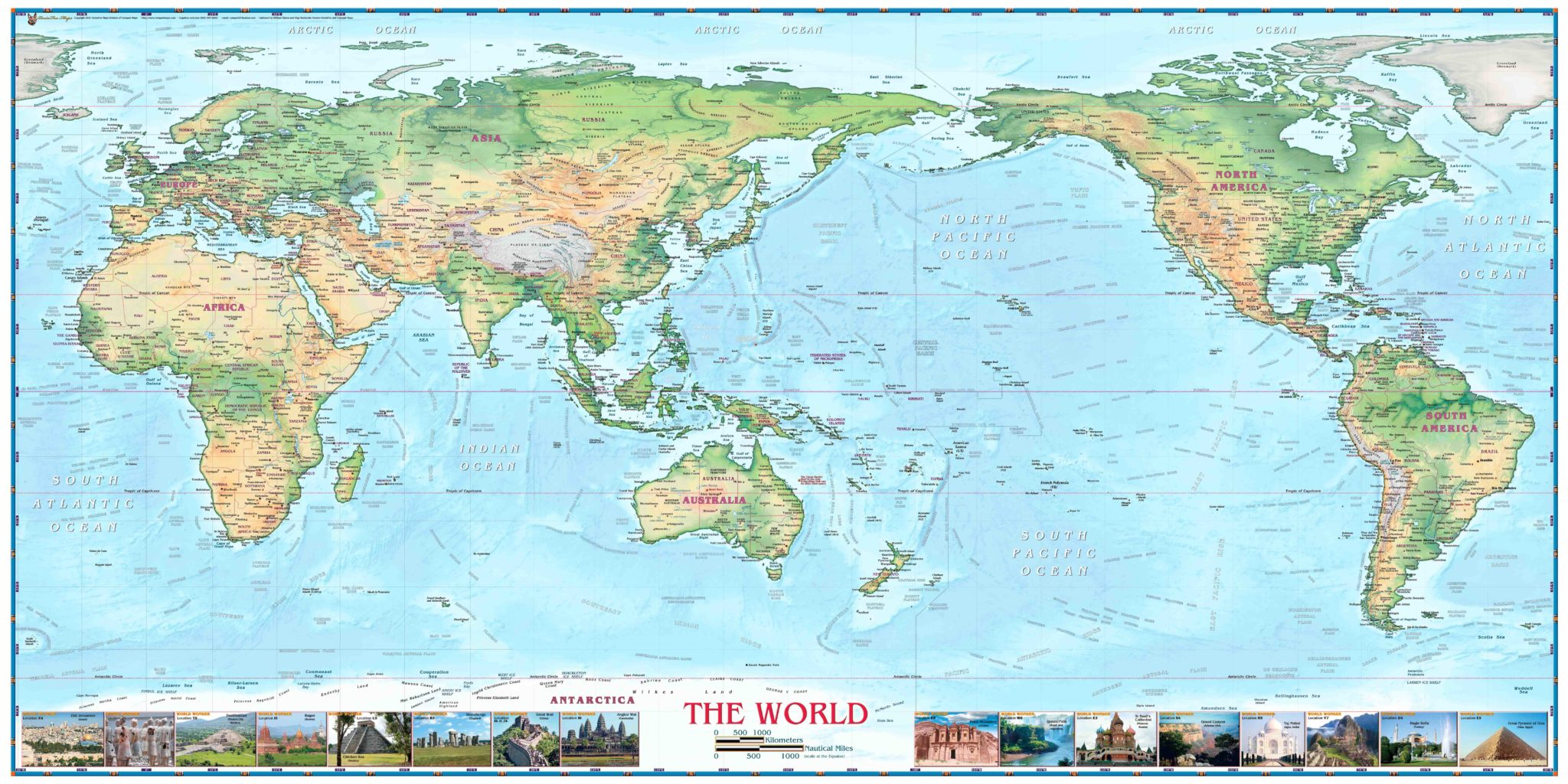 World Physical Map With Wonders
