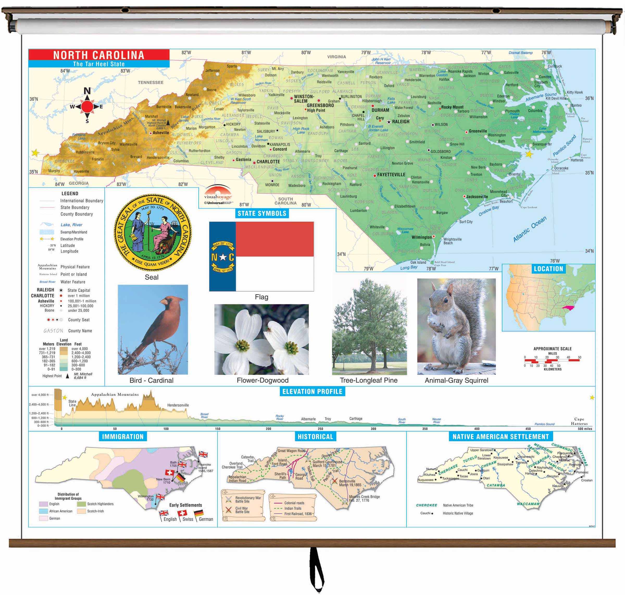 North Carolina State Primary Thematic Wall Map On Roller W