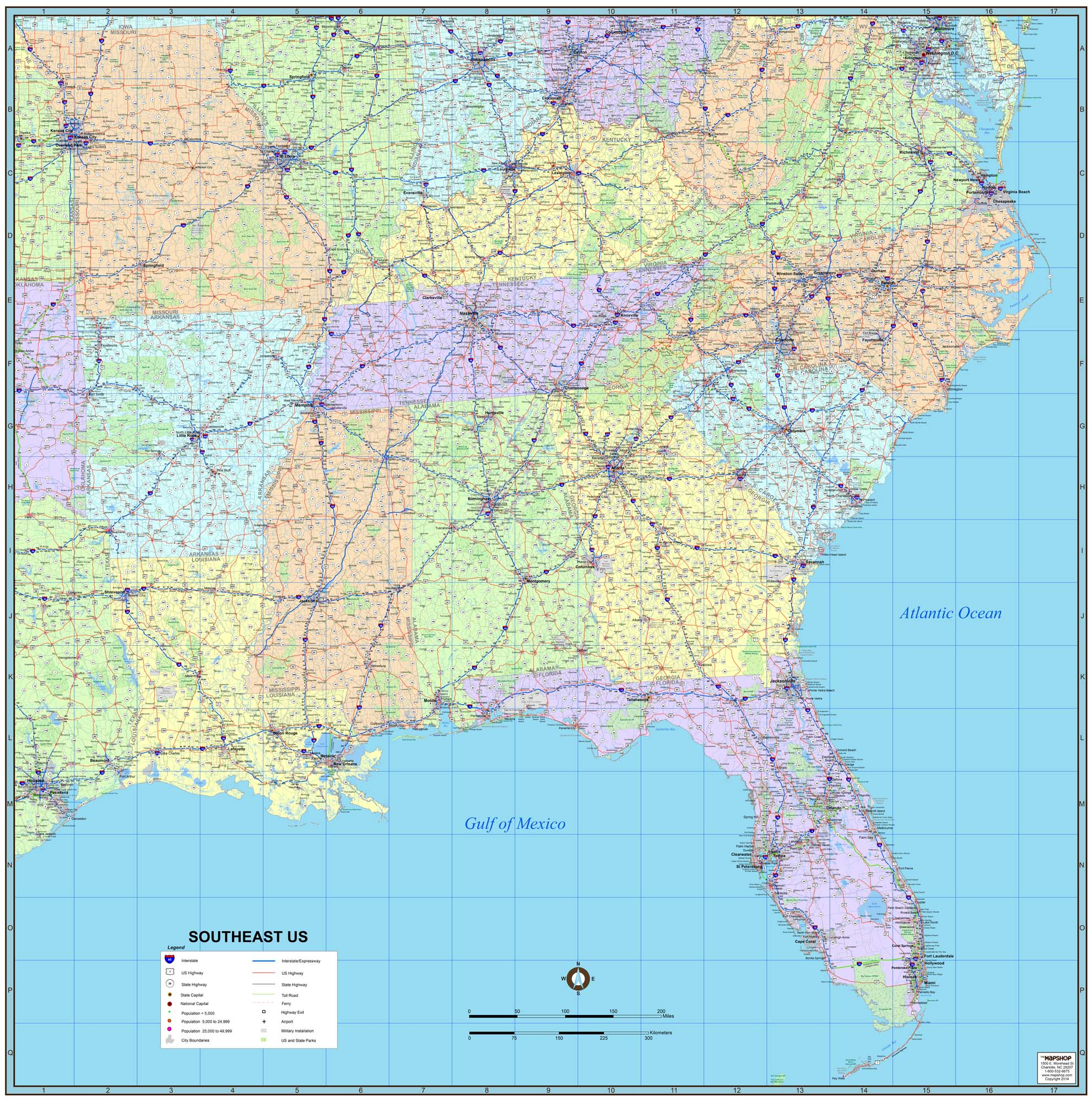 Southeast Map Of The United States Map Of The World