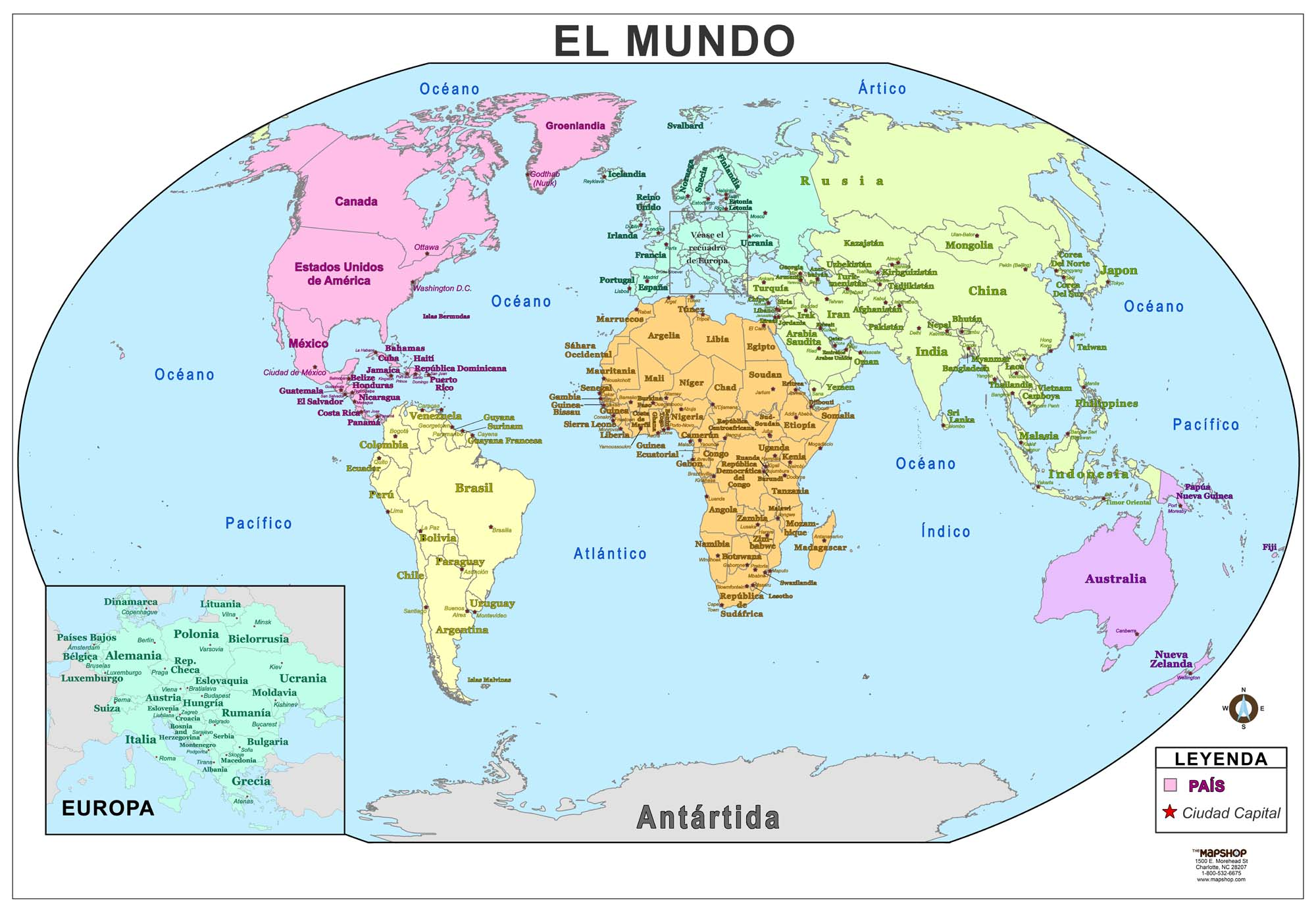 World Wall Map In Spanish