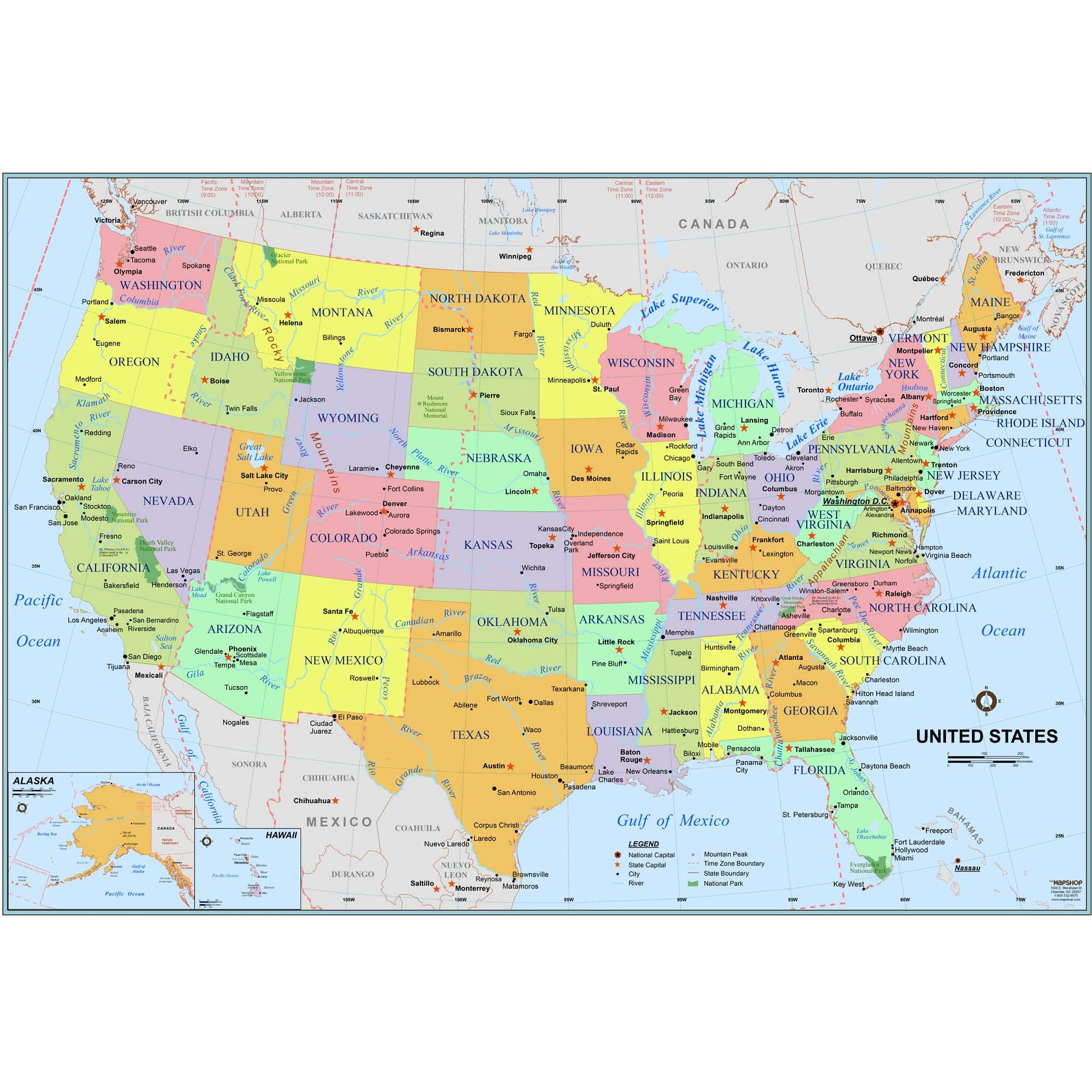 Simple United States Wall Map