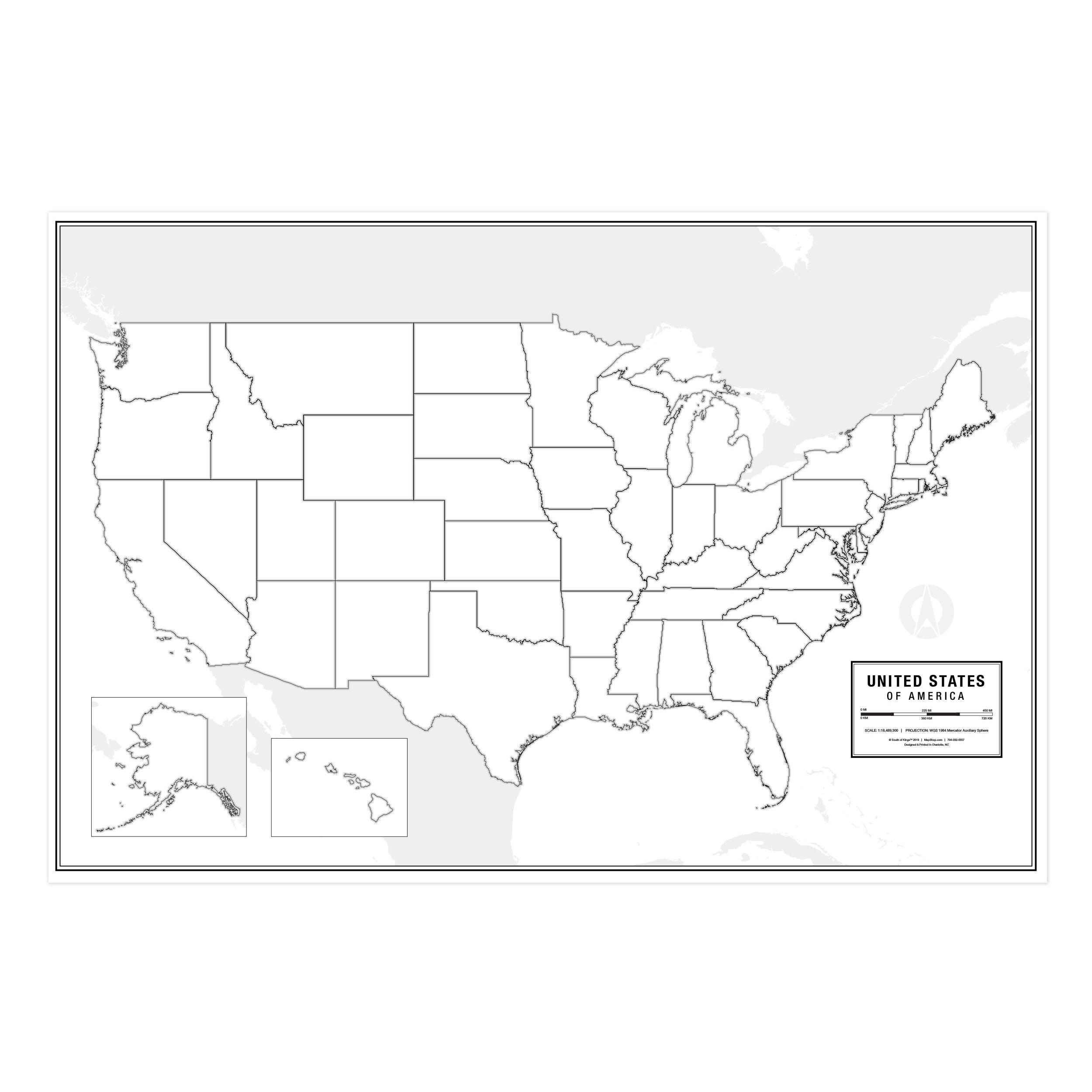 United States Blank Wall Map