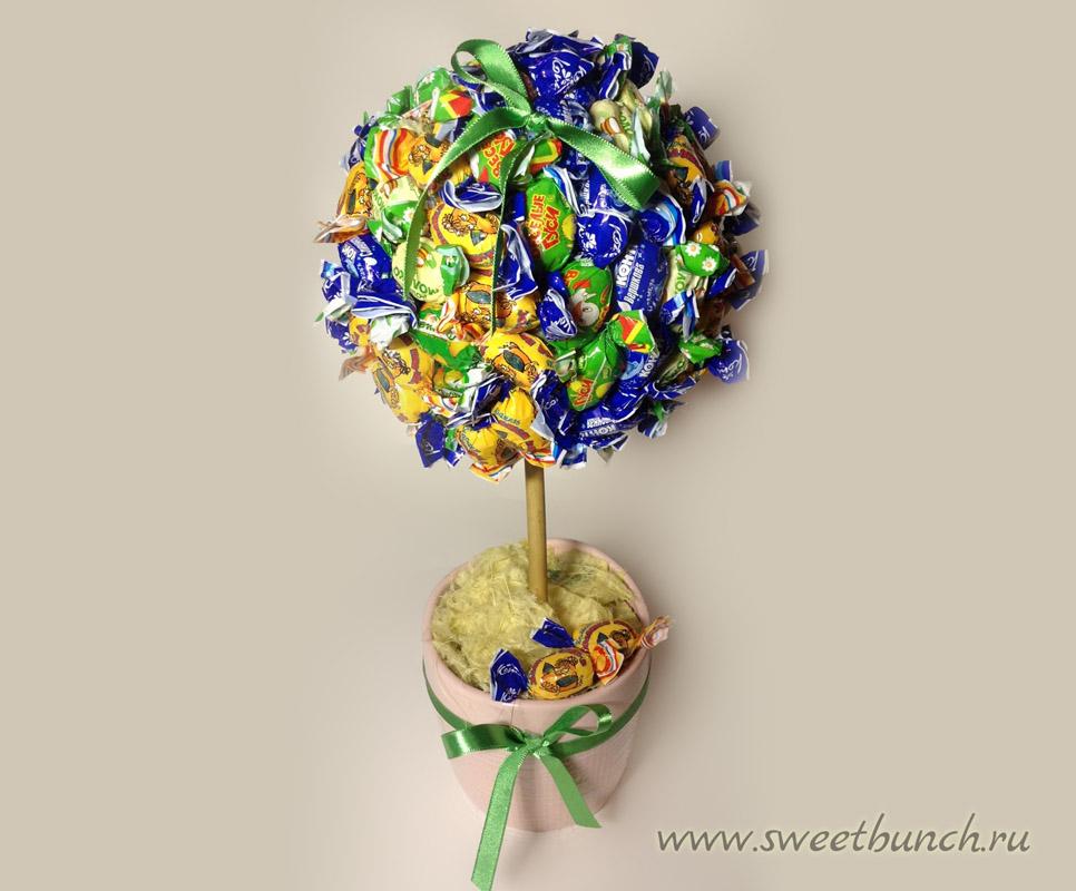 sladkiy_topiariy_14_06173113 Топиарий из конфет. Сладкий топиарий: дерево, яблоко, букет и часы из конфет
