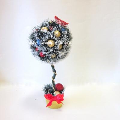 sladkiy_topiariy_19_06173120 Топиарий из конфет. Сладкий топиарий: дерево, яблоко, букет и часы из конфет