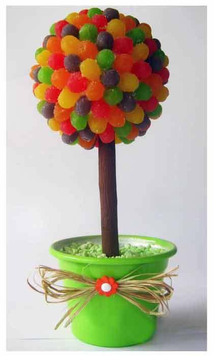 sladkiy_topiariy_24_06173125 Топиарий из конфет. Сладкий топиарий: дерево, яблоко, букет и часы из конфет